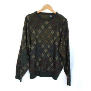 Vintage Tribal Diamond Print Grandpa Sweater